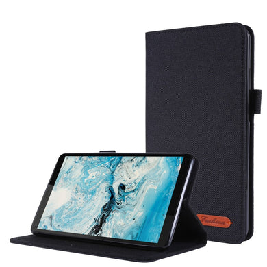 Fabric Texture Horizontal Flip Leather Case with Name Card Clip For Lenovo Tab M7 - Black