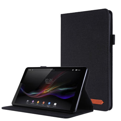 Fabric Texture Horizontal Flip Leather Case with Name Card Clip For Lenovo Tab M8 - Black