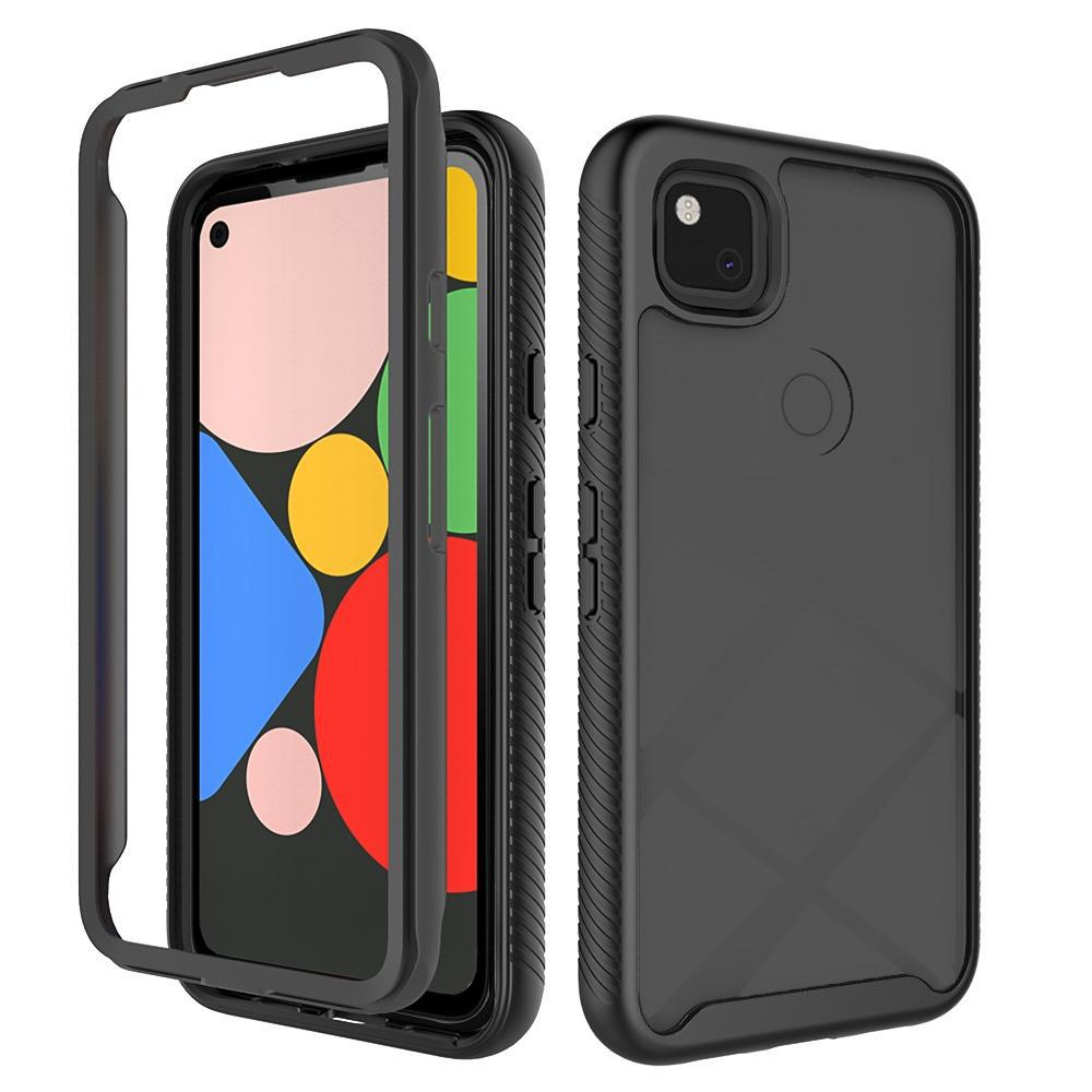 AMZER Full Body Hybrid Cover With Tempered Glass Screen Protector for Google Pixel 4a - Black