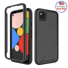 Load image into Gallery viewer, AMZER Full Body Hybrid Cover With Tempered Glass Screen Protector for Google Pixel 4a - Black