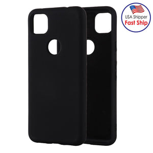 AMZER Shockproof Rugged Silicone Skin Jelly Case for Google Pixel 4a - Black