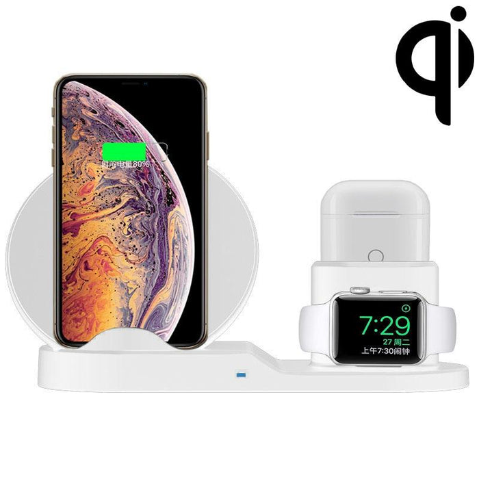 AMZER 3 in 1 Fast Wireless Charger Holder for Qi Smartphones & iWatch & AirPods - White