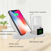 Load image into Gallery viewer, AMZER 3 in 1 Fast Wireless Charger Holder for Qi Smartphones & iWatch & AirPods - White