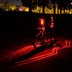 AMZER Bicycle USB Rechargeable Laser Taillight LED Warning Light - Red Light