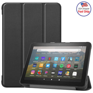 AMZER Custer Pattern Pure Color Horizontal Flip Leather Case with Three-folding Holder & Wake-up For Kindle Fire HD 8 (2020) - Black