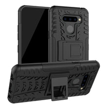 Load image into Gallery viewer, AMZER Hybrid Warrior Kickstand Case for LG Q60 - Black