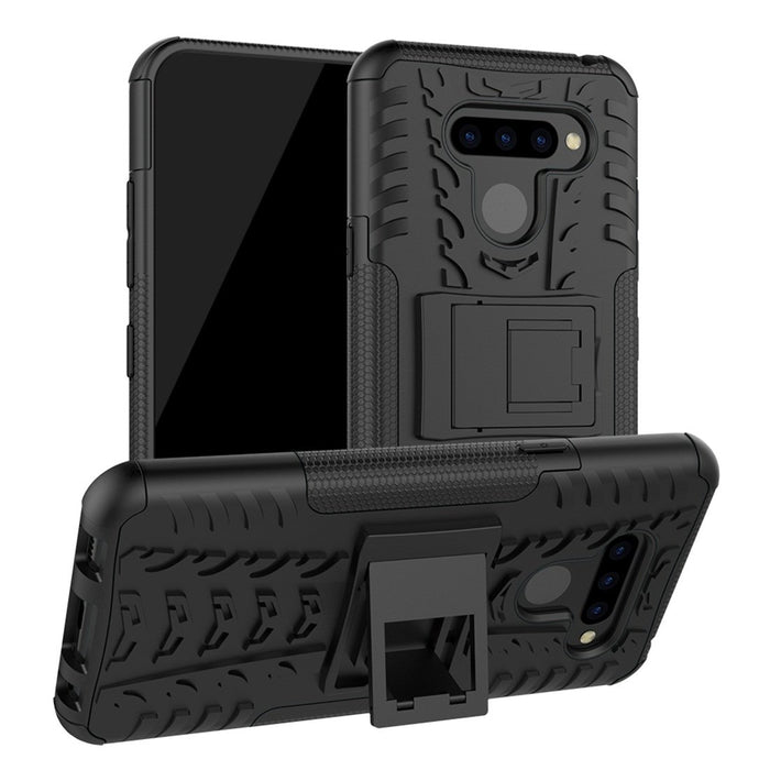 AMZER Hybrid Warrior Kickstand Case for LG Q60 - Black