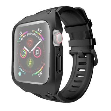 AMZER Armor Shockproof Silicone Case With Strap Watch Band For Apple Watch 5/4 - 44mm - Black