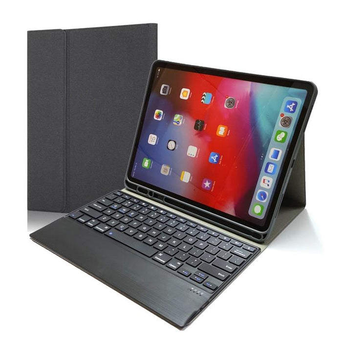 2 in 1 Detachable Magnetic Attraction Plastic Bluetooth Keyboard + Fabric Texture PU Leather Protective Case with Stand & Pen Slot For iPad Pro 12.9 inch (2020 & 2018) - Royal Blue