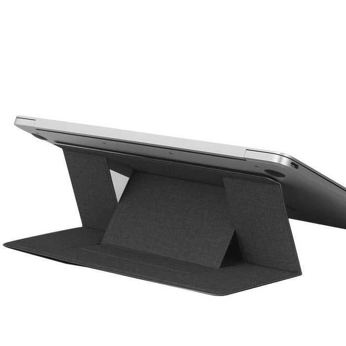Build-in Magnetic Design Adjustable Automatic Adsorption Laptop PU Stand - Black
