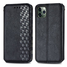 Load image into Gallery viewer, AMZER Cubic Grid Pressed Horizontal Flip Magnetic PU Leather Wallet Case with Holder & Card Slots For iPhone 11 - Black
