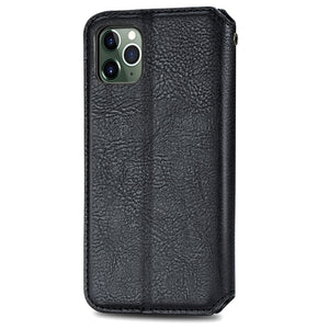 AMZER Cubic Grid Pressed Horizontal Flip Magnetic PU Leather Wallet Case with Holder & Card Slots For iPhone 11 - Black