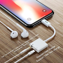 Load image into Gallery viewer, 2 in 1 Multi-function Type-C + 3.5mm to Type-C Male Fast Charging & Music Audio & Card Reading Adapter (Call version) - White
