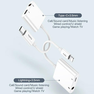 2 in 1 Multi-function Type-C + 3.5mm to Type-C Male Fast Charging & Music Audio & Card Reading Adapter (Call version) - White