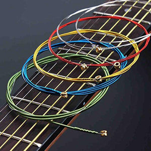 AMZER Guitar Strings Orchestral Instrument Strings Perfect 1 Set 6Pcs Rainbow Colorful E-A Guitar Strings