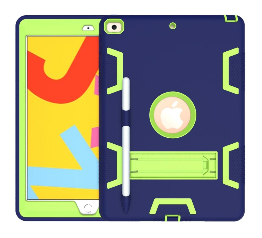 AMZER Shockproof PC + Silicone Protective Case with Holder & Pen Slot for iPad 10.2 - (Navy Blue + Yellow Green)