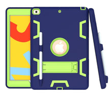 Load image into Gallery viewer, AMZER Shockproof PC + Silicone Protective Case with Holder & Pen Slot for iPad 10.2 - (Navy Blue + Yellow Green)