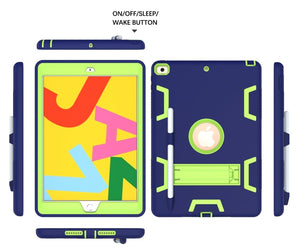AMZER Shockproof PC + Silicone Protective Case with Holder & Pen Slot for iPad 10.2/ iPad 8th Generation 10.2 inch - (Navy Blue + Yellow Green)