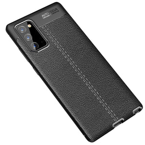 AMZER Litchi Texture Genuine Leather Protective Case for Samsung Galaxy Note20 - Black