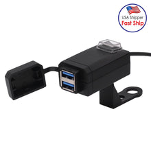 Load image into Gallery viewer, AMZER Motorcycle Waterproof Quick Charge 3.0 Dual USB Fast Charger Adapter with Switch