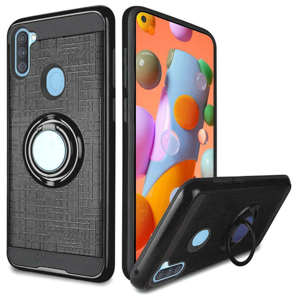 AMZER Hybrid PC+TPU Protective Case With Magnetic Ring Holder for Samsung Galaxy A11 - Black
