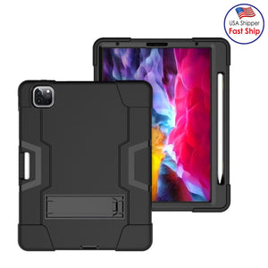 AMZER Shockproof PC + Silicone Protective Case with Holder & Pen Slot for iPad Pro 11 inch (2020) - Black