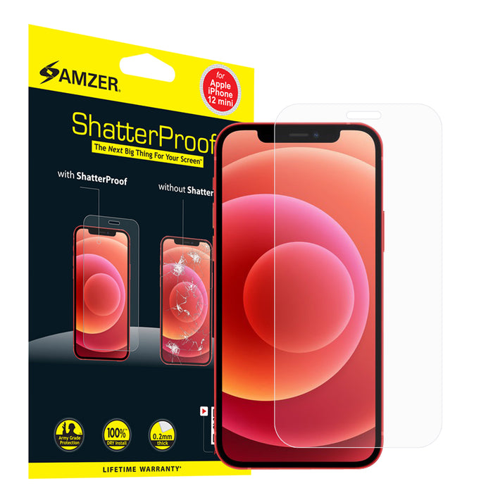 AMZER ShatterProof Screen Protector for iPhone 12 mini - Front Coverage