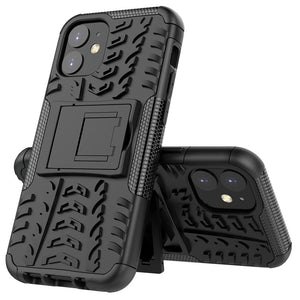 AMZER Hybrid Warrior Dual Layer Kickstand Case for Apple iPhone 12 mini - Black