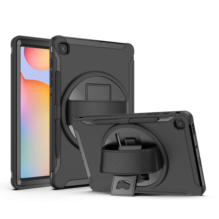AMZER TUFFEN Case with 360 Degree Rotation PC+TPU Protective Cover With Holder & Hand Strap & Pen Slot for Samsung Galaxy Tab S6 Lite