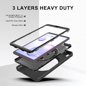AMZER TUFFEN Case with 360 Degree Rotation PC+TPU Protective Cover With Holder & Hand Strap & Pen Slot for Samsung Galaxy Tab A 8.4 (2020) T307