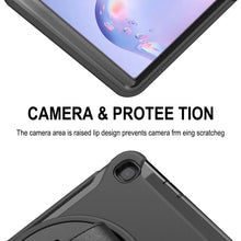 Load image into Gallery viewer, AMZER TUFFEN Case with 360 Degree Rotation PC+TPU Protective Cover With Holder & Hand Strap & Pen Slot for Samsung Galaxy Tab A 8.4 (2020) T307