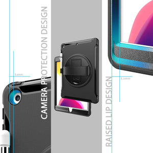 AMZER TUFFEN Case with 360 Degree Rotation PC+TPU Protective Cover With Holder & Hand Strap & Pen Slot for iPad 10.2