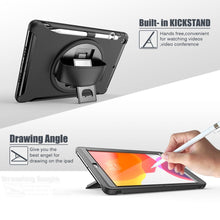 Load image into Gallery viewer, AMZER TUFFEN Case with 360 Degree Rotation PC+TPU Protective Cover With Holder & Hand Strap & Pen Slot for iPad 10.2