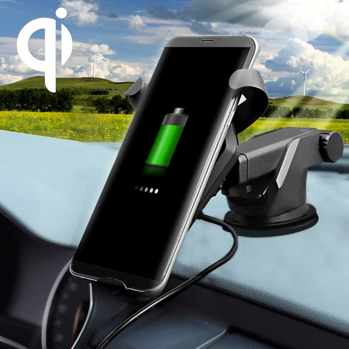 AMZER 10W Wireless Car Charger Dashboard Windshield Suction Mount with QC 2.0 Fast Charging