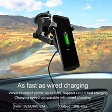 Load image into Gallery viewer, AMZER 10W Wireless Car Charger Dashboard Windshield Suction Mount with QC 2.0 Fast Charging