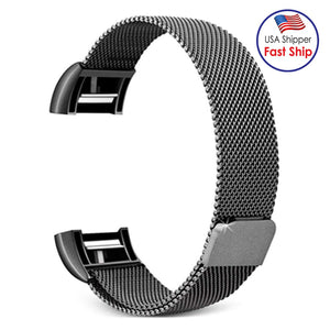AMZER Stainless Steel Wrist Strap Watchband for FITBIT Charge 2 - Size: L