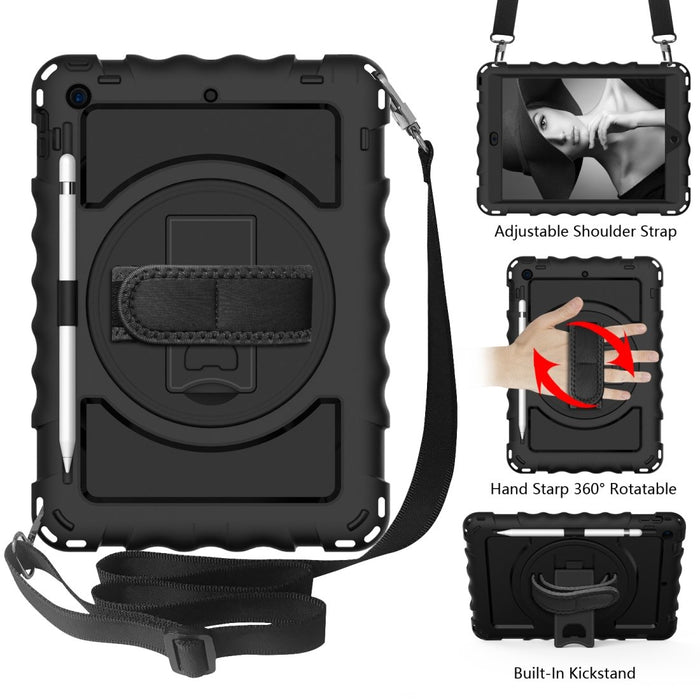 AMZER TUFFEN Case with 360 Degree Rotating Holder with Shoulder Strap for iPad 10.2/ iPad 8th Generation 10.2 inch
