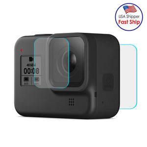 AMZER Camera Lens + LCD Display Tempered Glass Film for GoPro HERO8 Black