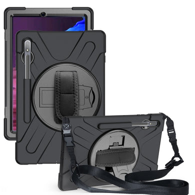 AMZER TUFFEN Case with 360 Degree Rotating Holder with Shoulder Strap for Samsung Galaxy Tab S7 Plus