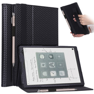 AMZER Shell Portfolio Case Carbon Fiber Texture with Holder & Pen Slot & Hand Strap for Sony DPT-CP1 10.3 inch (2018)