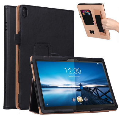 AMZER Texture PU Leather Horizontal Flip Leather Case with Holder & 2 Card Slots & Hand Strap for Lenovo Tab P10 TB-X705F & Tab M10 FHD REL TB-X605FC/LC & Tab M10 TB-X605F / TB-X505F
