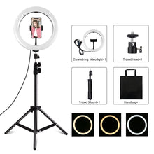 Load image into Gallery viewer, AMZER  Live Broadcast Kits 1.1mm Tripod Mount With 10 inch 26cm LED Ring