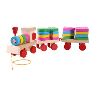 AMZER Educational Wooden Train Shape Building Blocks Toy for Children