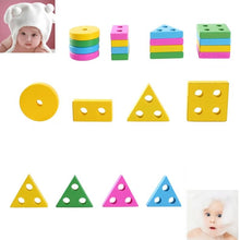 Load image into Gallery viewer, AMZER Educational Wooden Train Shape Building Blocks Toy for Children