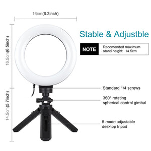 AMZER Live Broadcast Pocket Tripod Mount with 6.2 inch 16cm 3 Modes USB Dimmable LED Ring