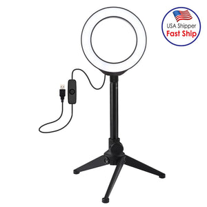 AMZER Live Broadcast Kits 4.7 inch 12cm Ring Light + Desktop Tripod Selfie Stick Mount USB White Light LED Ring