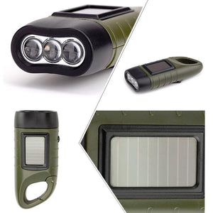 AMZER Solar Powered Hand Crank Flashlight- Rechargeable LED Cranking Light With Clip