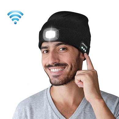 AMZER Bluetooth Beanie Wireless Headphone Knitted Warm Winter Hat with LED Light for Outdoor Night Running