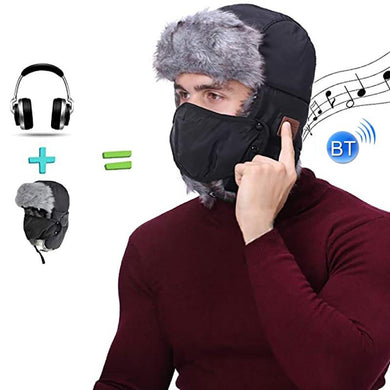 AMZER Outdoor Sports Winter Headphone Music Hat with Wireless Bluetooth Face Mask Cap with Ear Flap and Adjustable Chin Strap Windproof Ski Hat