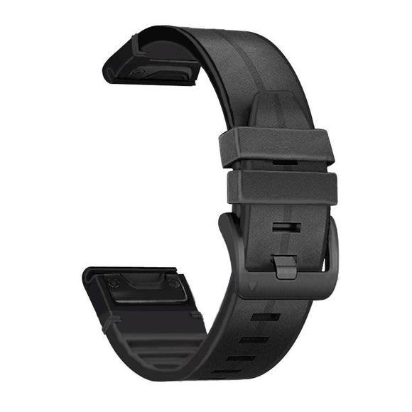 AMZER Silicone + Leather Quick Release Replacement Strap Watchband for Garmin Fenix 6